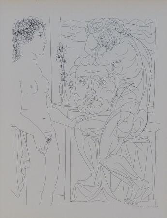 Lithograph Picasso - Modèle nu et Sculptures