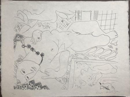 Lithograph Matisse - Modèle refleté dans le miroir avec la main de l'artiste 45x60 CAHIERS D'ART