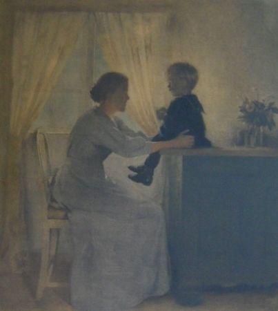 Mezzotint Ilsted - Moder og Barn - Mother and Child