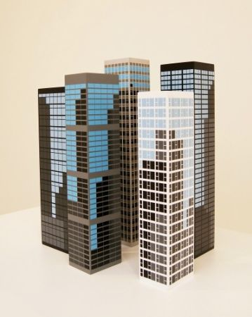 Woodcut Opie - Modern towers