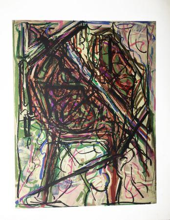 Lithograph Riopelle - Mois mondial du coeur I. Lithographie originale (1972).
