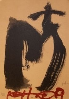 Lithograph Tàpies - M.Ojos y cruz