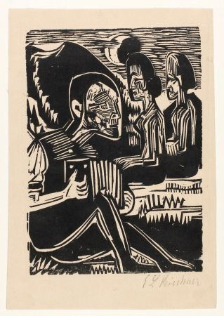 Woodcut Kirchner - Mondnacht (Selfportrait with accordion)