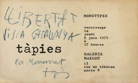 Lithograph Tàpies - Monotypes
