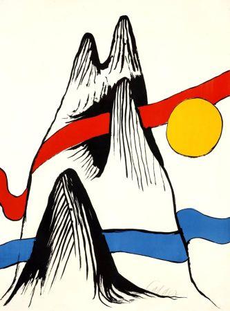 Lithograph Calder - Montagne et Soleil
