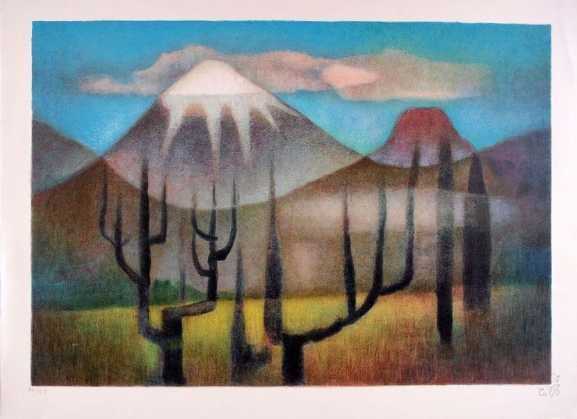 Lithograph Toffoli - Montagnes mexicaines