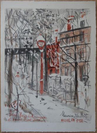 Lithograph Utrillo - Montmartre sous le neige