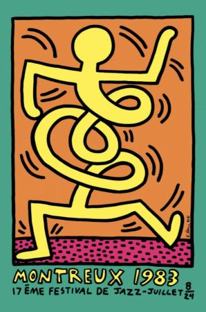 Lithograph Haring - Montreux Jazz Festival (green)