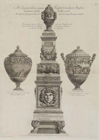 Etching Piranesi - Monumento antiguo y dos vasos