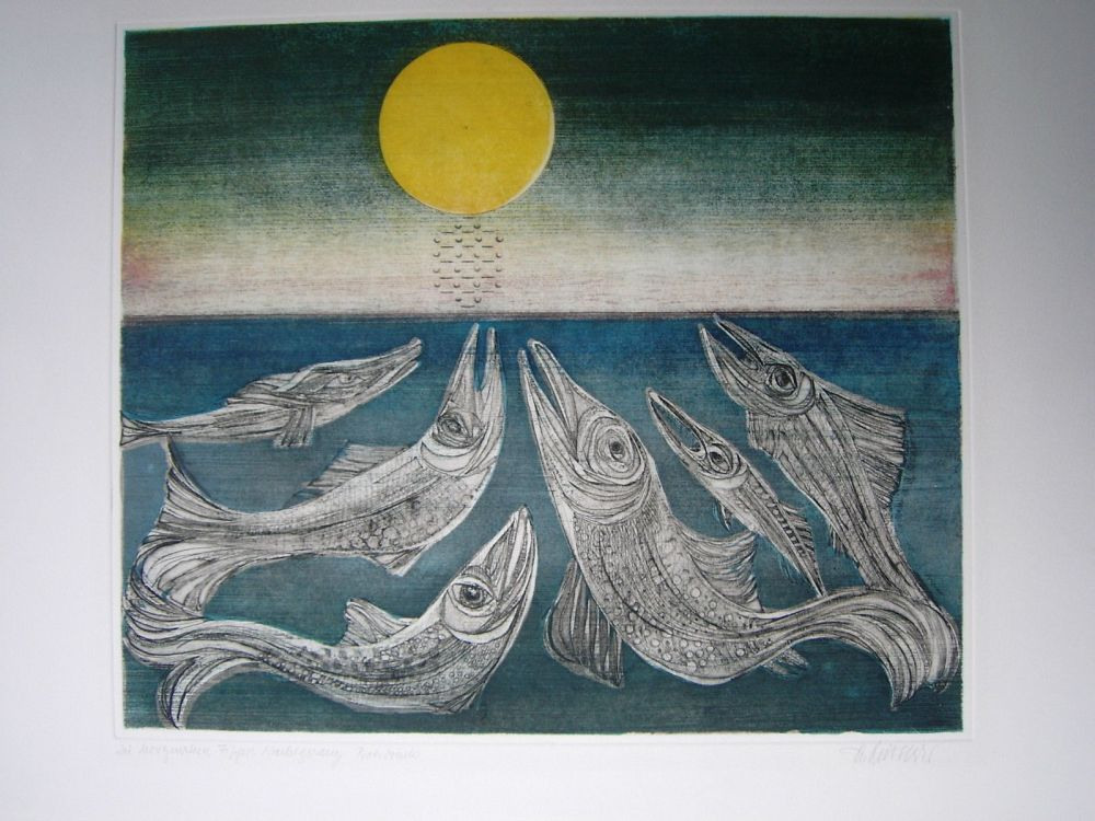 Etching And Aquatint Finsterer - Morgenstern >Fisches Nachtgesang<
