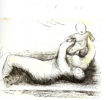 Etching And Aquatint Moore - Mothe & Child XII