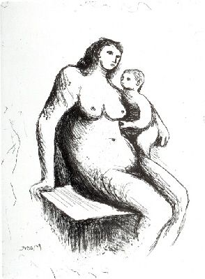 Etching Moore - Mother and Child V