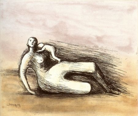 Etching And Aquatint Moore - Mother and Child VII