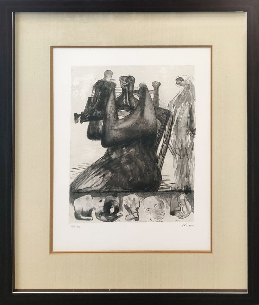 Lithograph Moore - MOTHER AND CHILD WITH BORDER DESIGN
