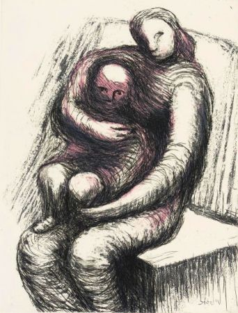 Etching And Aquatint Moore - Mother and Child XI