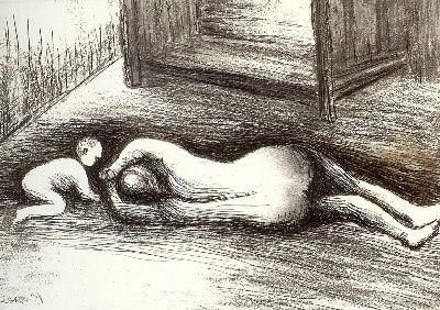 Etching And Aquatint Moore - Mother and Child XV
