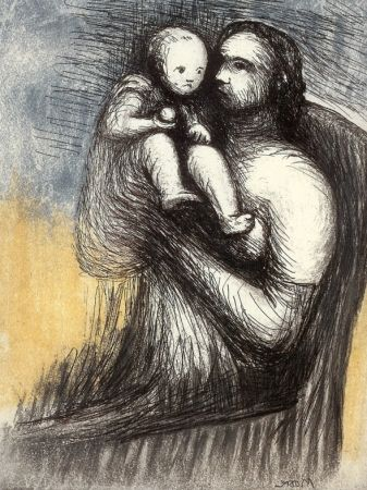 Etching And Aquatint Moore - Mother and Child XXV