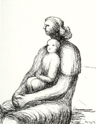 Etching Moore - Mother and Child XXVII