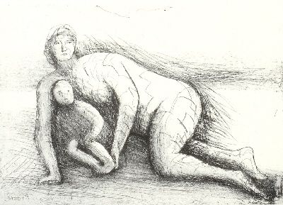 Etching And Aquatint Moore - Mother & Child XXIV