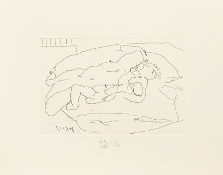 Etching Flanagan -  Mother lying with child