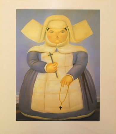 Lithograph Botero - Mother Oberin