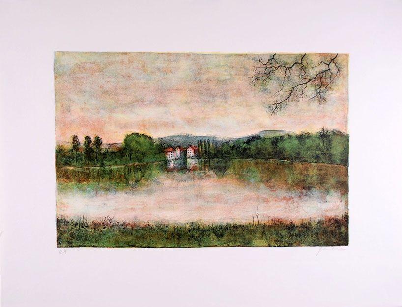 Lithograph Gantner - Moulins au bord de l'eau - Mills at the border water