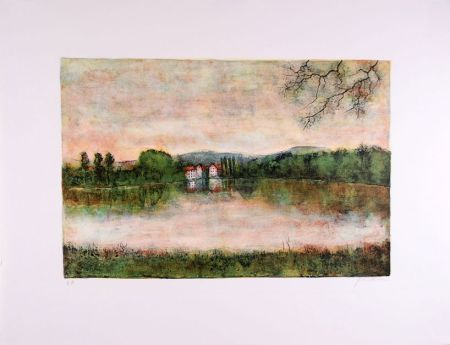 Lithograph Gantner - Moulins au bord de l'eau - Mills at the border water