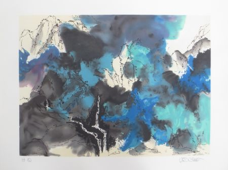 Lithograph Po Chung - Mountain and stream in mist