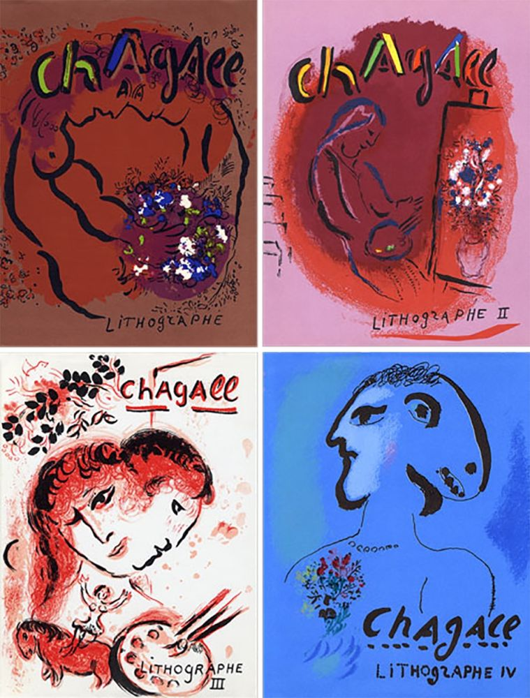 Illustrated Book Chagall - Mourlot & Sorlier : Chagall lithographe I à IV avec 28 lithographies originales.