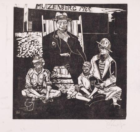 Linocut Kentridge - Muizenberg 1933