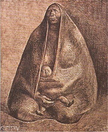 Lithograph Zuniga - Mujer con Nino