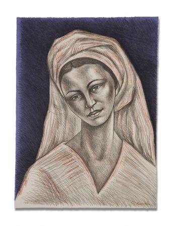 Lithograph Anguiano - Mujer con rebozo blanco