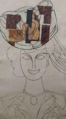 Engraving Valdés - Mujer con sombrero