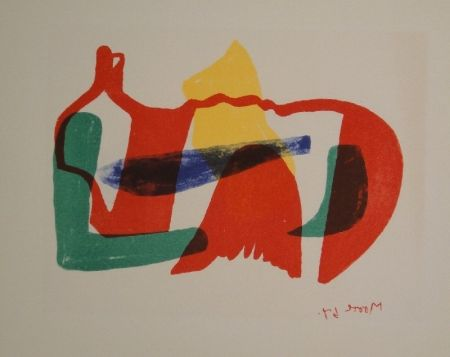 Lithograph Moore - Multicoloured Reclining Figure