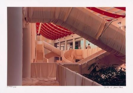 Lithograph Christo - Museum Würth Wrapped Stairs
