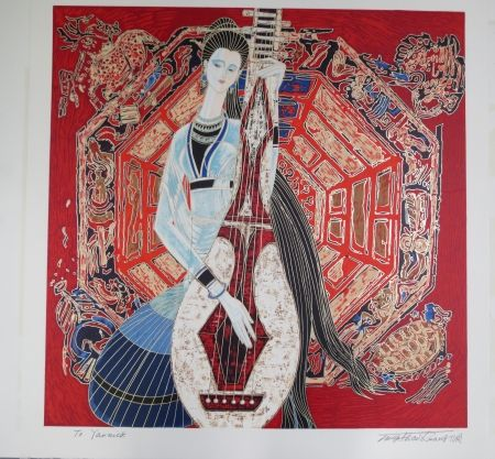 Lithograph Ting - Musician