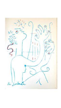 Lithograph Cocteau - Musicien