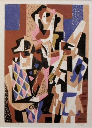 Lithograph Severini - Musiciens