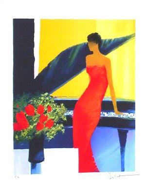 Lithograph Bellet - Musique rouge