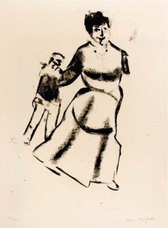 Drypoint Chagall - Mutter und sohn