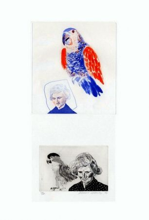 Etching Hockney - My mother with a parrot