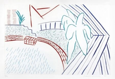 Aquatint Hockney - My pool and terrace