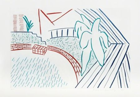 Engraving Hockney - My Pool and Terrace
