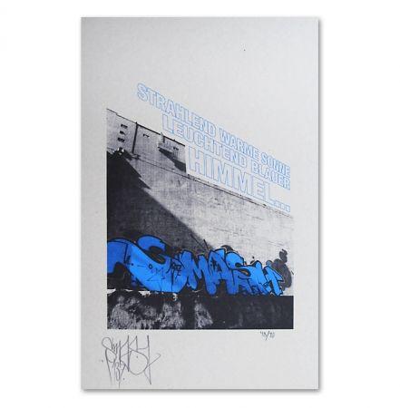 Screenprint Falkner - My Space blue