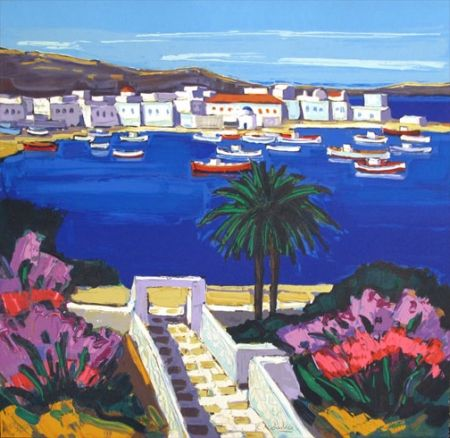 Lithograph Quilici - Mykonos