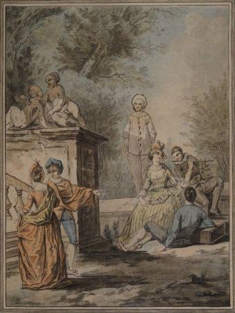Aquatint Janinet - Nach Jean Antoine Watteau (1684-1721). Komödiantenszene