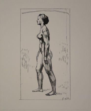 Lithograph Hodler - Nacktes Mädchen, nach links schreitend