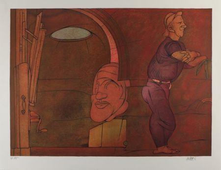 Lithograph Adami - Naissance de la penture