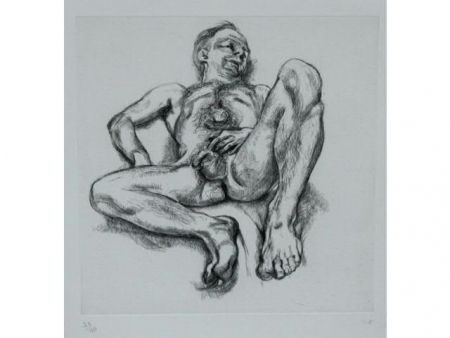 Engraving Freud - Naked man on a bed