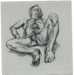 Etching Freud - Naked man on a bed